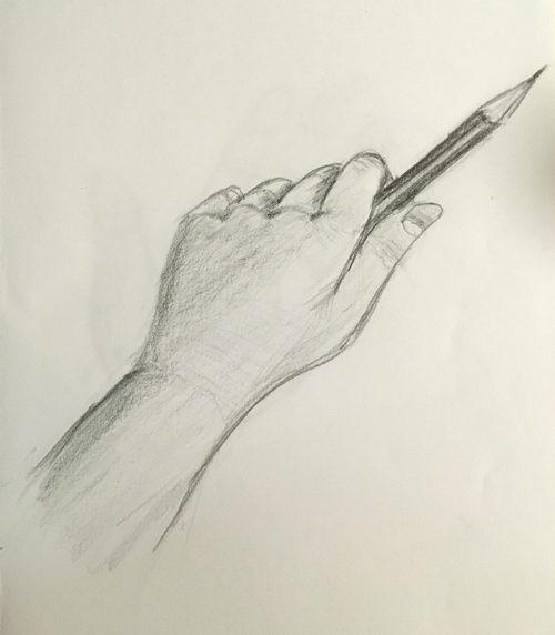 添削189:鉛筆を持った手のデッサン