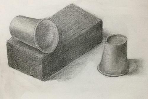 添削190:赤レンガと紙コップのデッサン