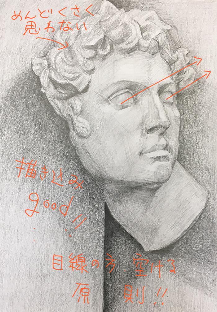 石膏像(メディチ)のデッサン