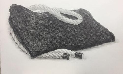 黒タオルとロープのデッサン