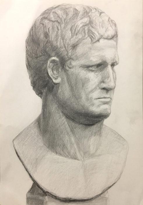 石膏像(アグリッパ)のデッサン