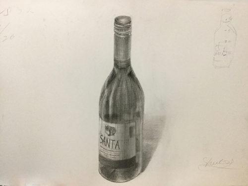 ワイン瓶のデッサン