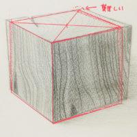 木材の立方体のデッサン