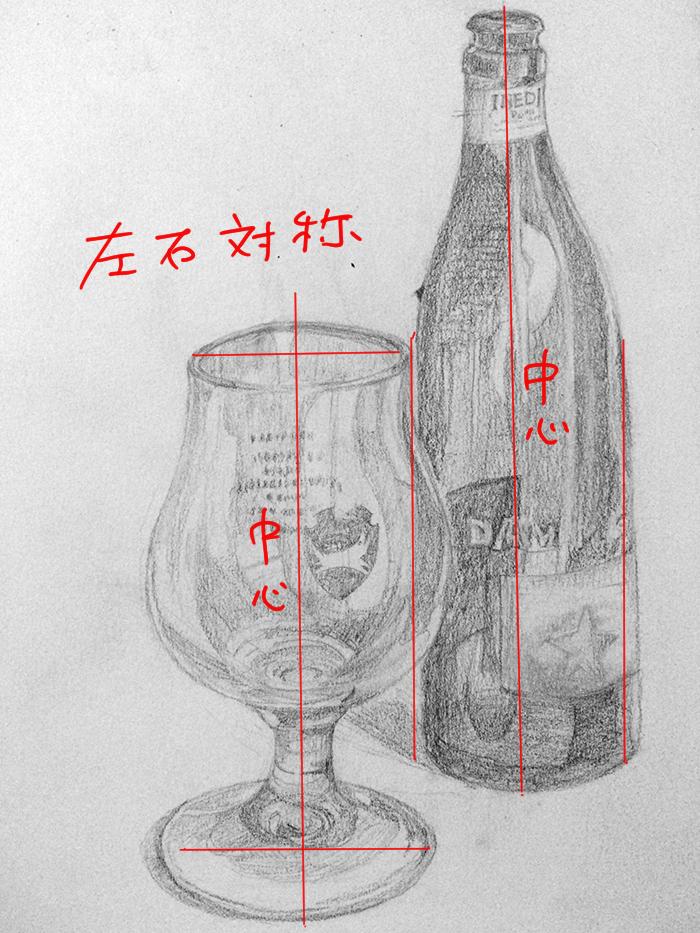 ビールグラスとビール瓶のデッサン
