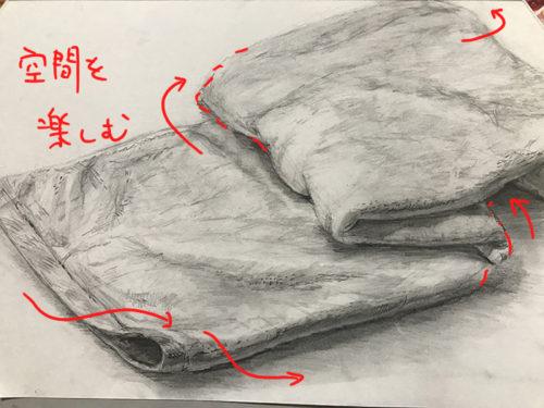 表面が少しふわっとした布のデッサン