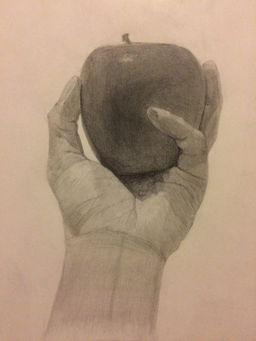 リンゴを持つ手のデッサン