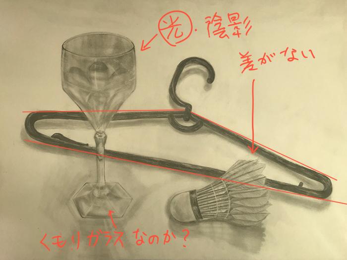 グラスとハンガーとバドミントンの羽のデッサン