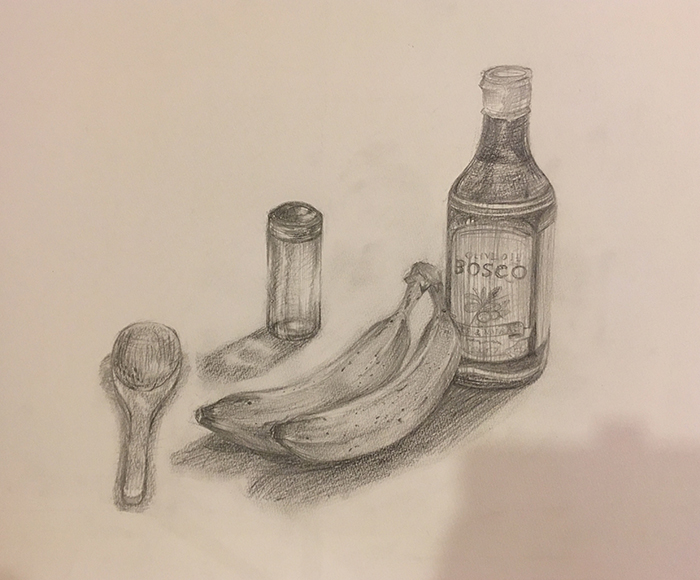 瓶・バナナ・調味料入れ・木製スプーンのデッサン