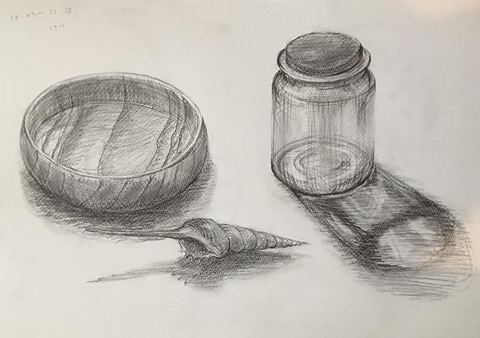 瓶・木製ボウル・貝のデッサン
