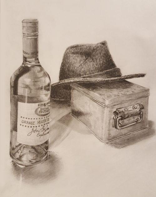 ワイン瓶とスチール缶と帽子のデッサン