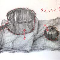 ステンレス鍋・トマト・タオルのデッサン