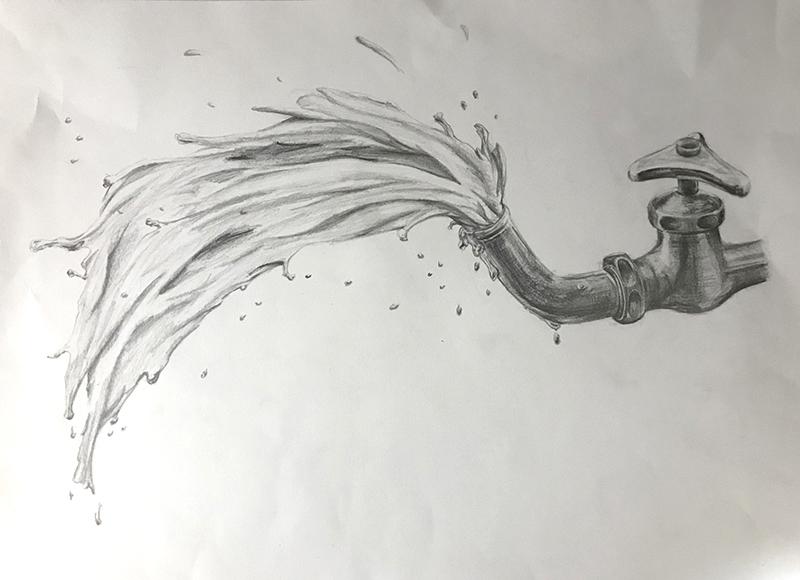 蛇口と水のデッサン