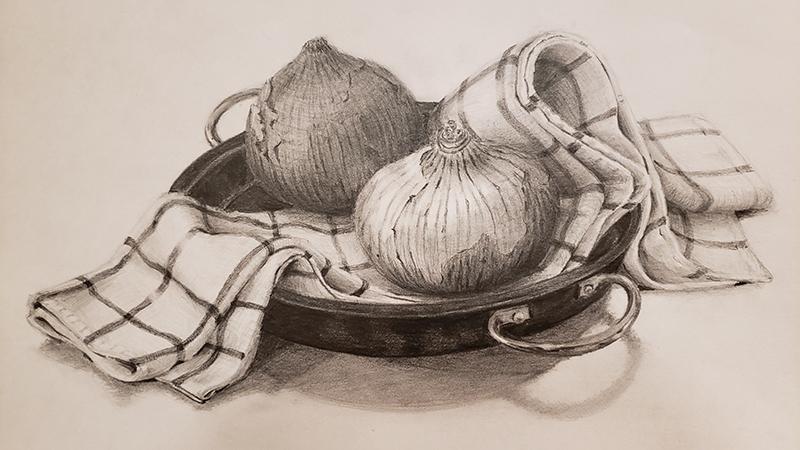 玉葱、布巾、フライパンのデッサン