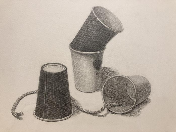 紙コップと紐のデッサン