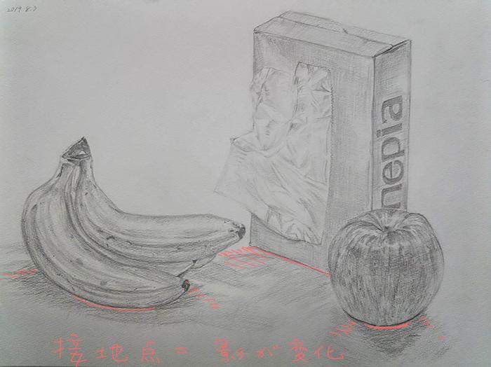 リンゴとバナナと箱ティッシュのデッサン