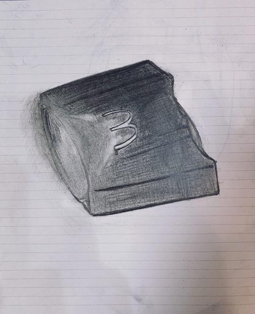 空になったポテトの箱のデッサン