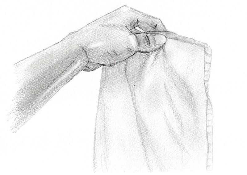 タオルを持つ手のデッサンのデッサン