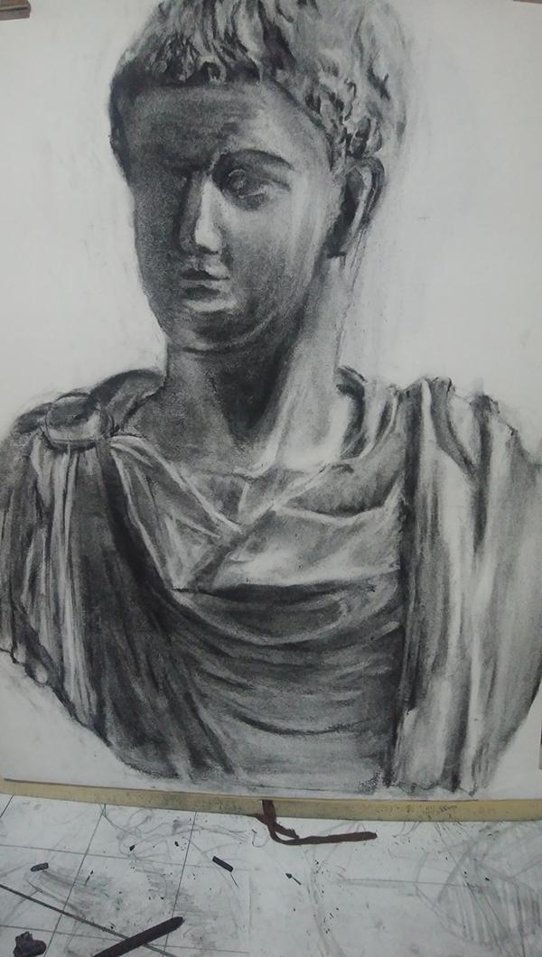 石膏像ゲタのデッサン