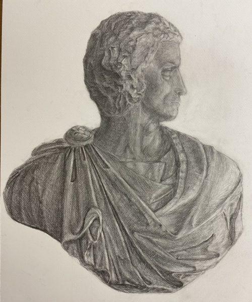 石膏像(ブルータス)のデッサン