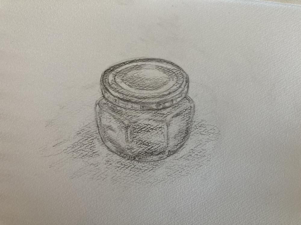 フタ付きガラス瓶のデッサン