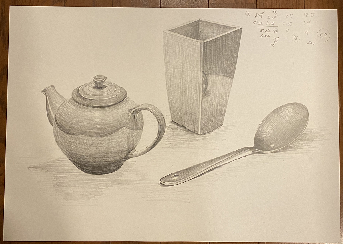 ティーポット・植木鉢・スプーンのデッサン